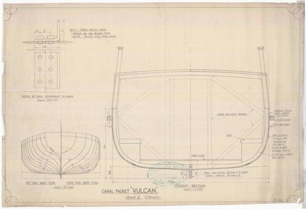 Plan of the canal packet boat 'Vulcan', built by Thomas Wilson at Faskine in 1818 for the Forth and Clyde Navigation Company to the designs of Sir John Robinson. Vulcan was the first iron boat to be built in Scotland
