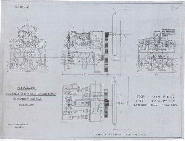 Technical plan showing the arrangement of the steam steering engine drawn as part of a set of plans for the SS Carronwater dredger created by Ferguson Brothers Shipbuilders and Engineers, Glasgow, and commissioned by the London, Midland and Scottish Railway