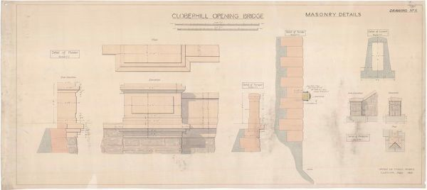 Plan and elevations showing masonry details of Cloberhill Bridge over the Forth and Clyde Canal, Glasgow