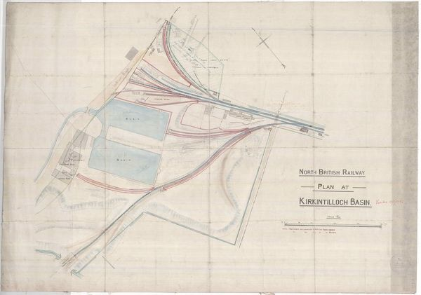 Plan showing the Monkland and Kirkintilloch Railway at Kirkintilloch Basin, including branches serving the iron foundry and concrete works
