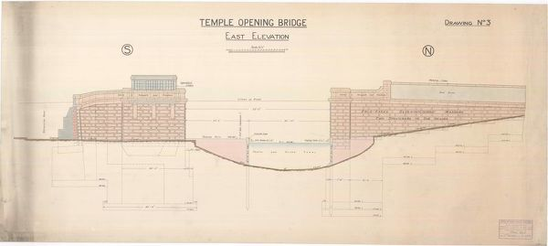 Plan showing the east elevation of the opening bridge over the Forth and Clyde Canal at Temple, Glasgow, drawn by Thomas Somers, Master of Works and City Engineer, Glasgow