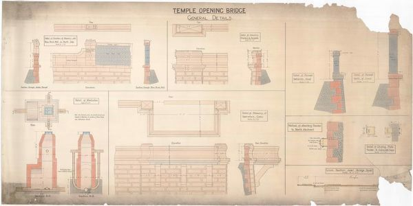 Details, sections and elevations of the opening bridge over the Forth and Clyde Canal at Temple, Glasgow, drawn by Thomas Somers, Master of Works and City Engineer, Glasgow