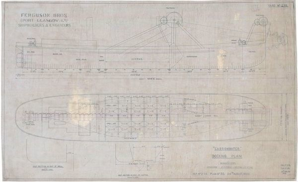 Trace of a docking plan drawn as part of a set of plans for the SS Carronwater dredger created by Ferguson Brothers Shipbuilders and Engineers, Glasgow, and commissioned by the London, Midland and Scottish Railway (LMS)