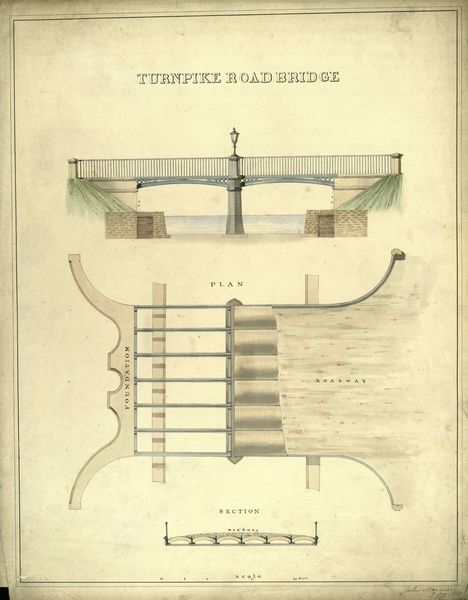 Plan and sections of the turnpike road bridge drawn as a set of plans of the bridges and culverts to be built on a proposed extension of the canal from Wyndford to Donnyloanhead