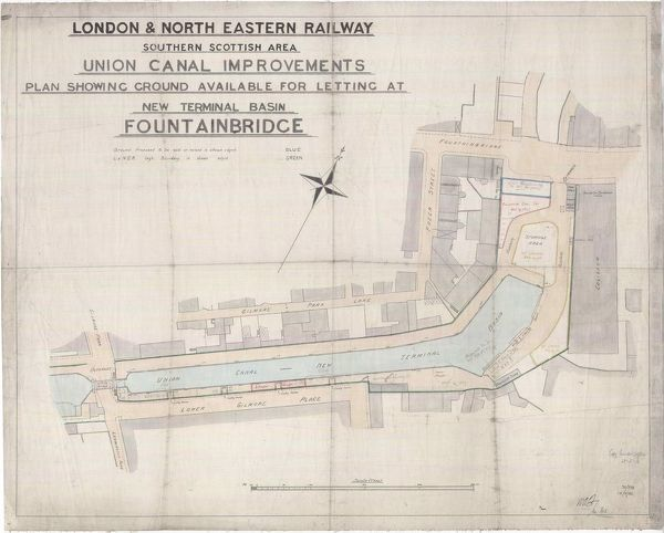 Plan of the Union Canal at the former terminal basin at Fountainbridge, Edinburgh, showing land available for lease