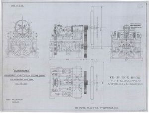 Carronwater, Arrangement of Steam Steering Engine with Independent Hand Gear