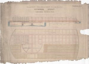 Glasgow Corporation Tramways, Clydebank Bridges, Longitudinal Section and Plan