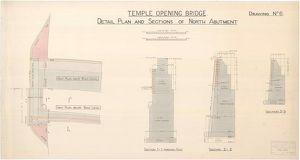 Temple Opening Bridge, Detail Plan and Sections of North Abutment